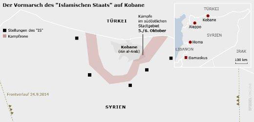 Situación en torno a la ciudad siria norte Kobane (a partir del 6 de octubre)